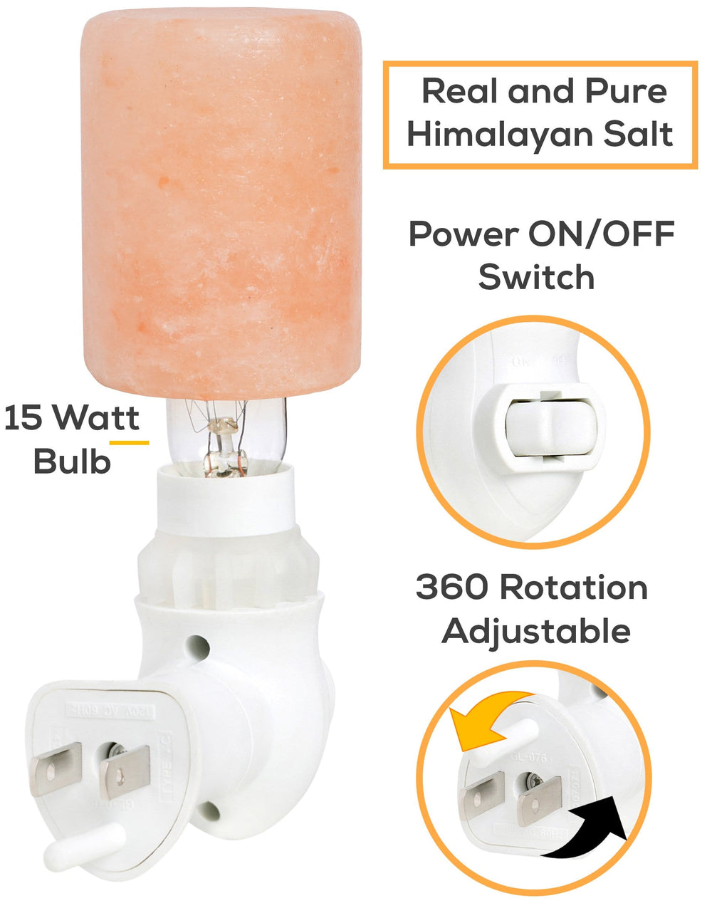 Feel Good Light Himalayan Salt Wall Plugin Mini-Lamp Hand Carved Natural Crystal Himalayan Salt Lamp Night Light With Ul-Approved Plug; Purifying Salt Lamp Used For Decoration And Lighting