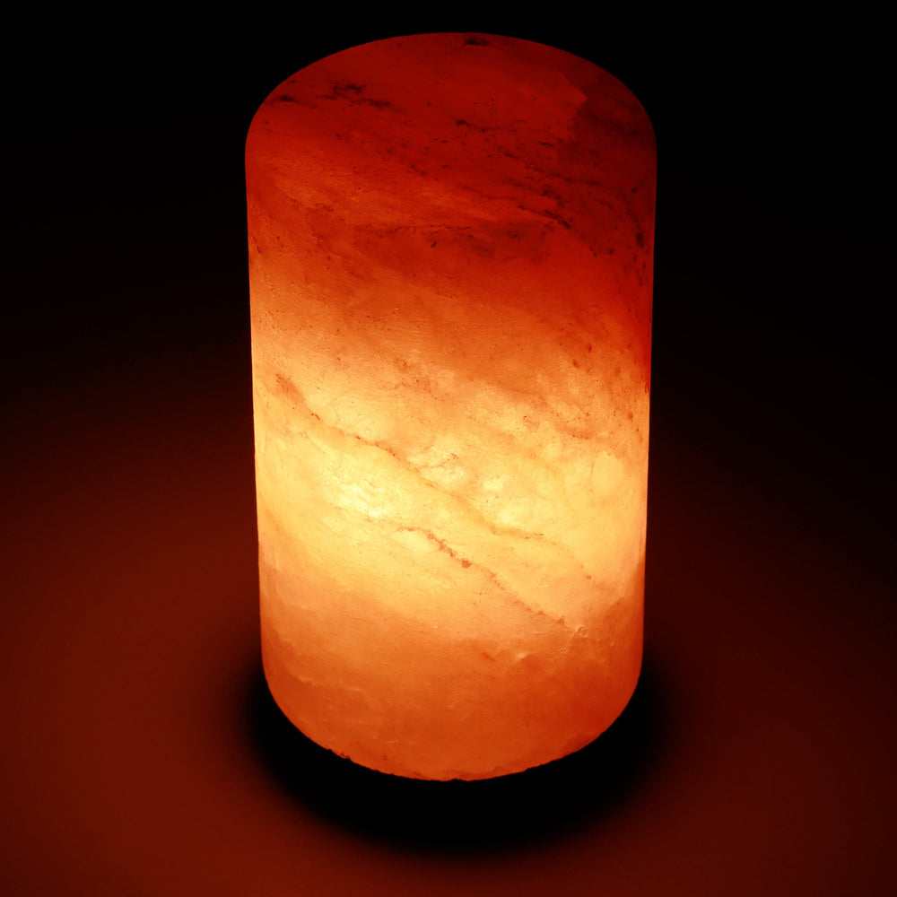 Himalayan Rock Salt Cylinder Lamp, 7 Inches Tall - Soft Calm Therapeutic Light - Smoothly Carved Handcrafted Cylindrical Design - Finished Wood Base - Tibetan Evaporated Rock Lamps - , Dark Orange Hue