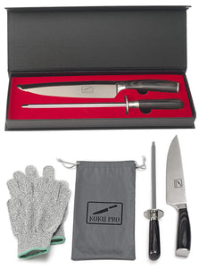 "Japanese Knife - Pro 8"" Sharp Chef Knife - High Carbon Stainless Steel Kitchen Knife - Includes, Knife Sharpener, 2 Kevlar Gloves (Cut-Resistant ), Storage Box"
