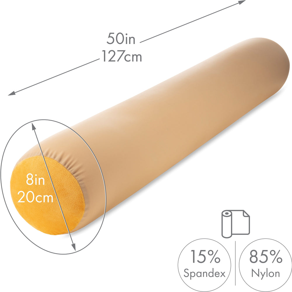 "Straight Body Pillow, Full Size Premium Microbead,Side Sleeping / Maternity Pregnant Women, Supportive ,Fluffy, Breathable, Cooling, 85/15 spandex/nylon Silky Feel Anti-Aging - 48"" X 8"" - Barely Beige"