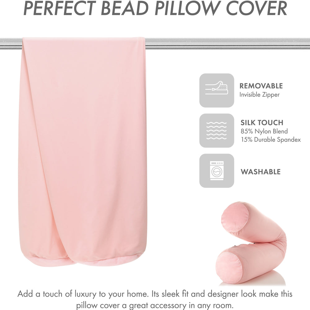 Case Only - Body Pillow Cover Stylish Silky Super Soft - 85% Spandex/ 15% Nylon Blend, Beauty - Anti Wrinkle, Anti Aging Prevention - Breathable Pillowcase - Gentle on Hair Size 48 X 8, Cream Peach