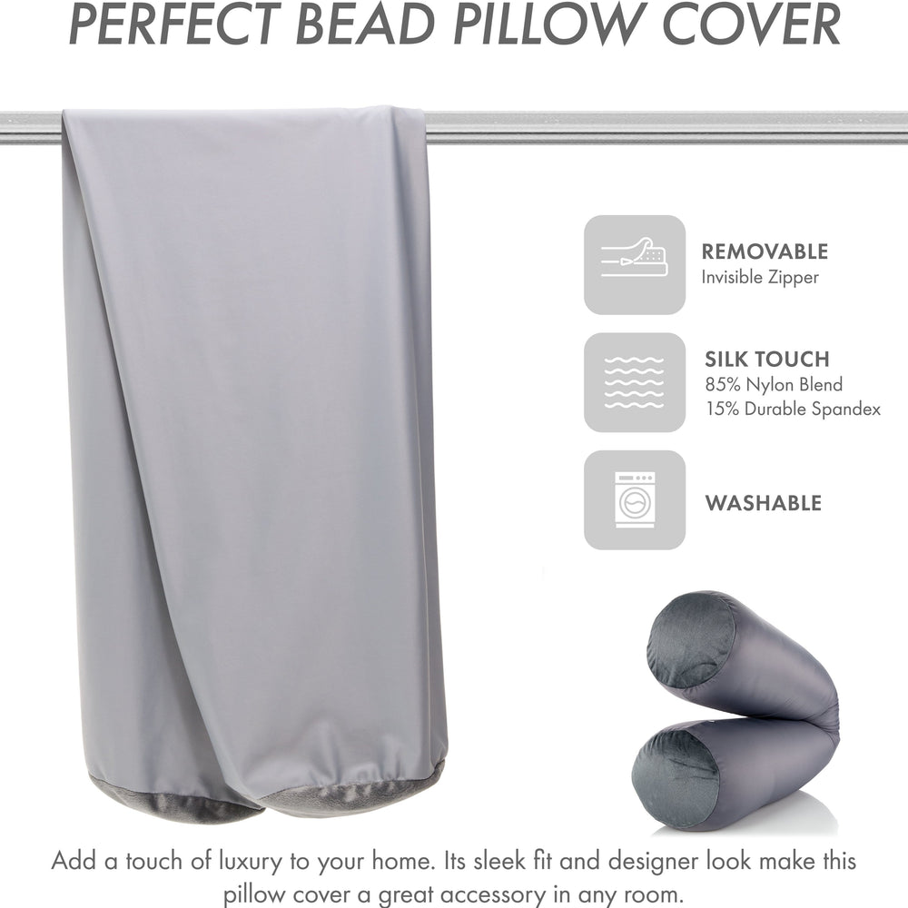 Case Only - Body Pillow Cover Stylish Silky Super Soft - 85% Spandex/ 15% Nylon, Beauty - Anti Wrinkle, Anti Aging Prevention - Breathable Pillowcase Design - Gentle on Hair Size 48 X 8, Dark Grey