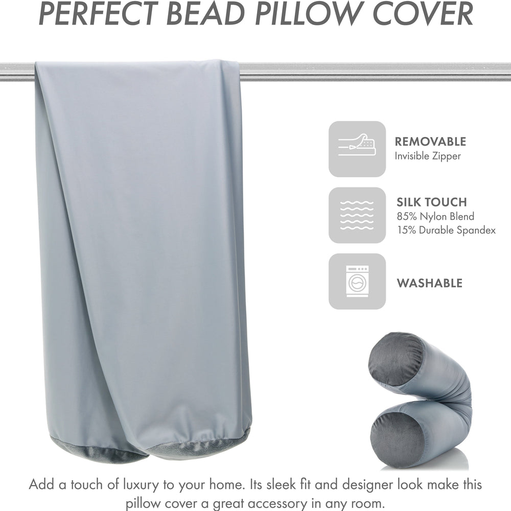 Case Only - Body Pillow Cover Stylish Silky Super Soft - 85% Spandex/ 15% Nylon, Beauty - Anti Wrinkle, Anti Aging Prevention - Breathable Pillowcase Design - Gentle on Hair Size 48 X 8, Light Grey