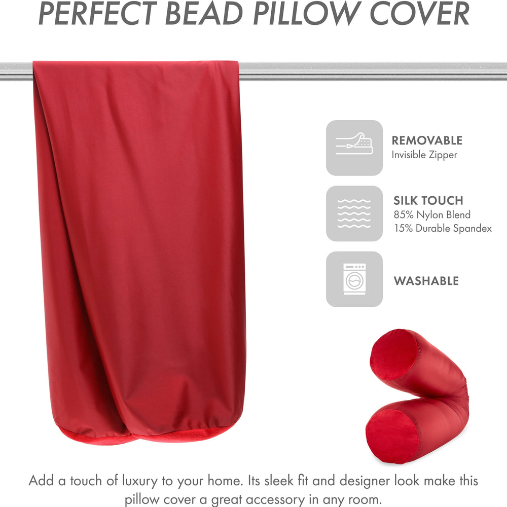 Case Only - Body Pillow Cover Stylish Silky Super Soft - 85% Spandex/ 15% Nylon Blend, Beauty - Anti Wrinkle, Anti Aging Prevention - Breathable Pillowcase Design - Gentle on Hair Size 48 X 8, Maroon