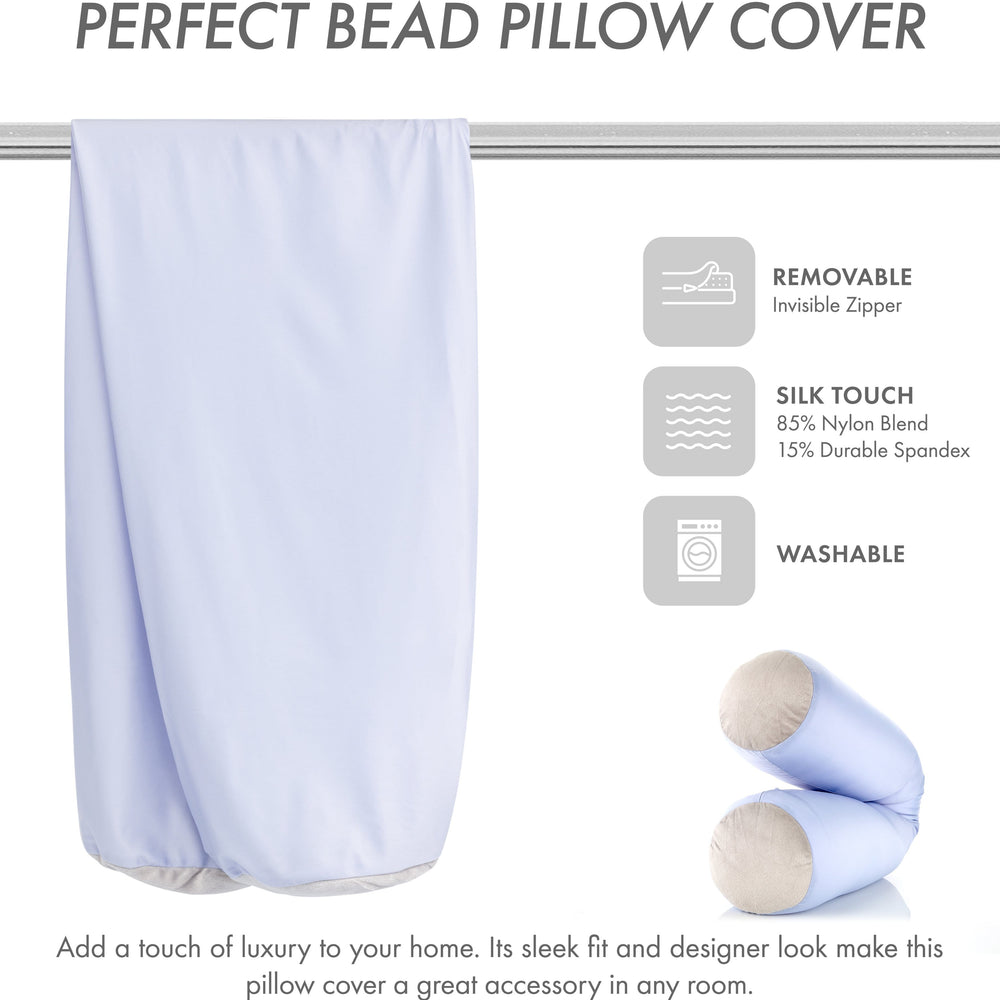 Case Only - Body Pillow Cover Stylish Silky Super Soft - 85% Spandex/ 15% Nylon, Beauty - Anti Wrinkle, Anti Aging Prevention - Breathable Pillowcase Design - Gentle on Hair Size 48 X 8, Silver Mist