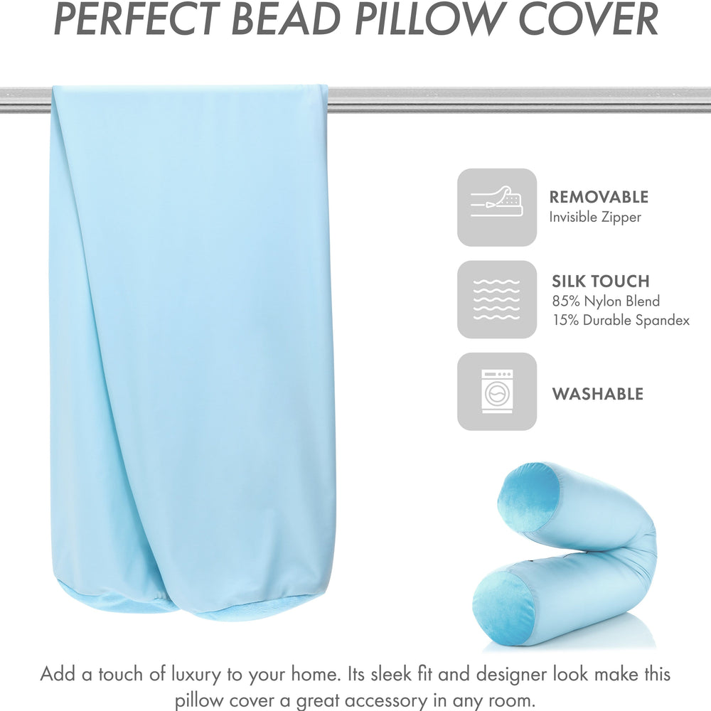 Case Only - Body Pillow Cover Stylish Silky Super Soft - 85% Spandex/ 15% Nylon, Beauty - Anti Wrinkle, Anti Aging Prevention - Breathable Pillowcase - Gentle on Hair Size 48 X 8, Sweet Baby Blue