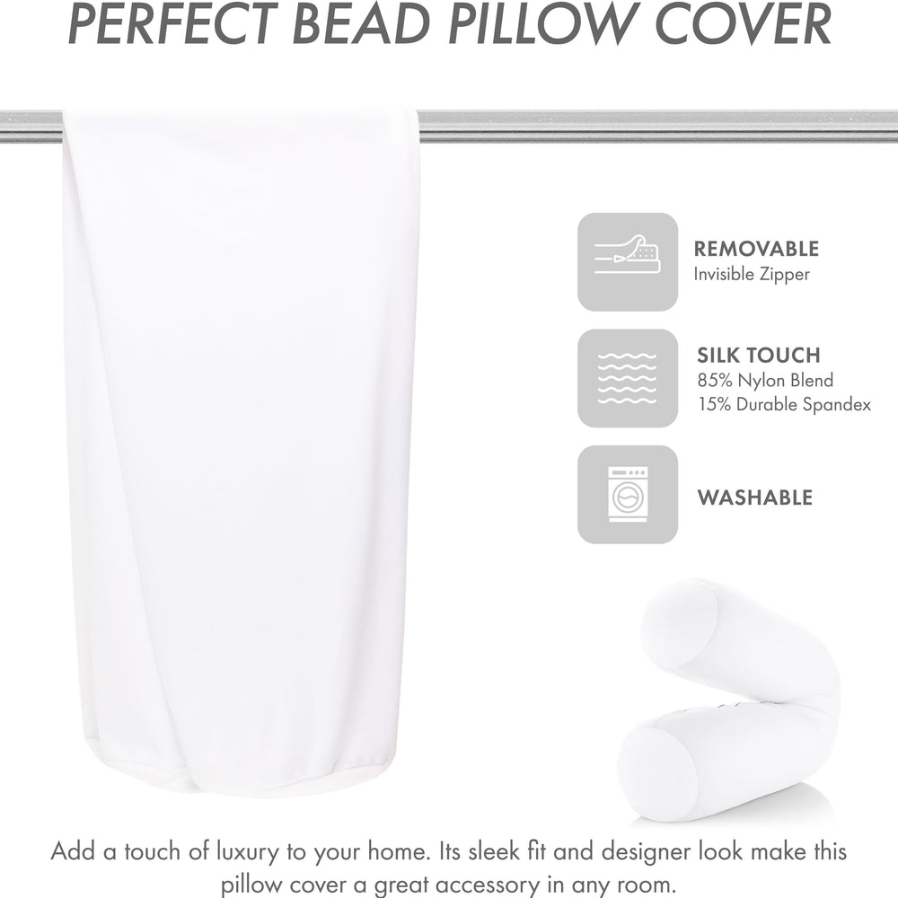 Case Only - Body Pillow Cover Stylish Silky Super Soft - 85% Spandex/ 15% Nylon Blend, Beauty - Anti Wrinkle, Anti Aging Prevention - Breathable Pillowcase Design - Gentle on Hair Size 48 X 8, White
