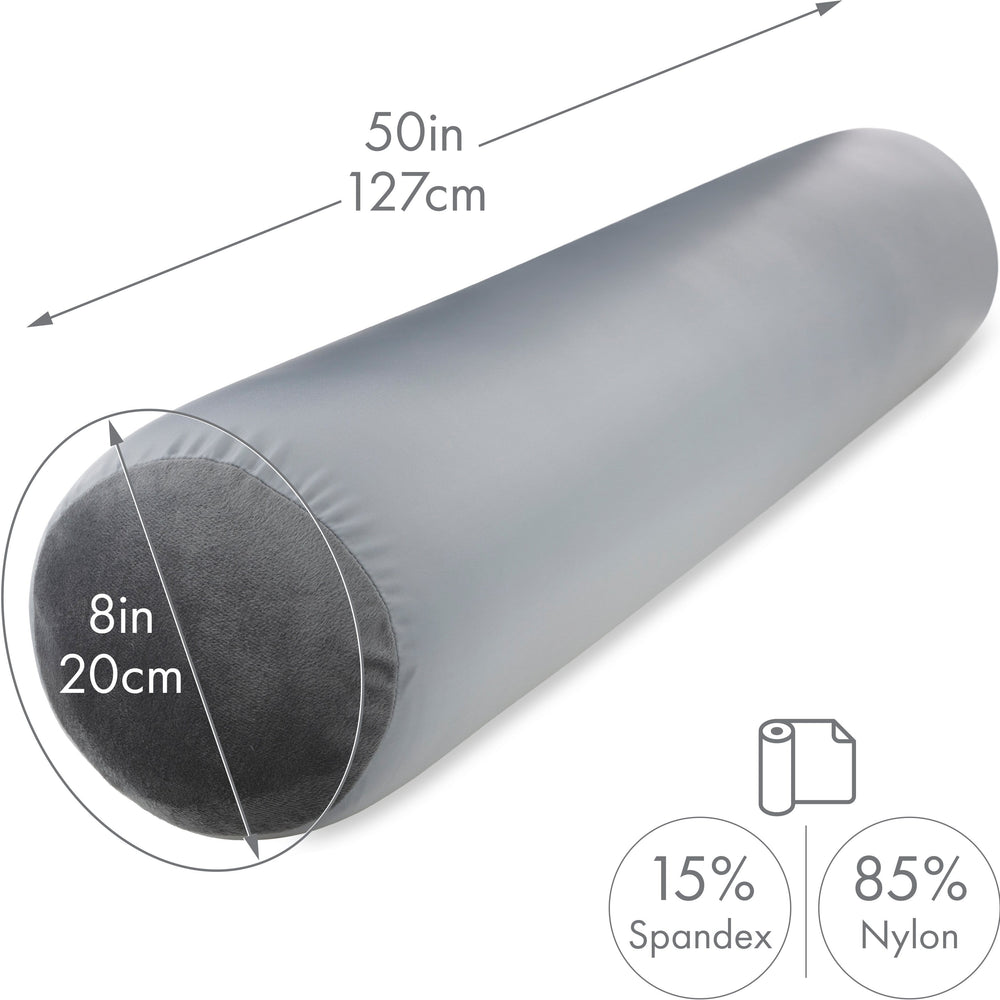 "Straight Body Pillow, Full Size Premium Microbead,Side Sleeping / Maternity Pregnant Women, Supportive ,Fluffy, Breathable, Cooling, 85/15 spandex/nylon Silky Anti-Aging Cover - 48"" X 8"" - Dark Grey"