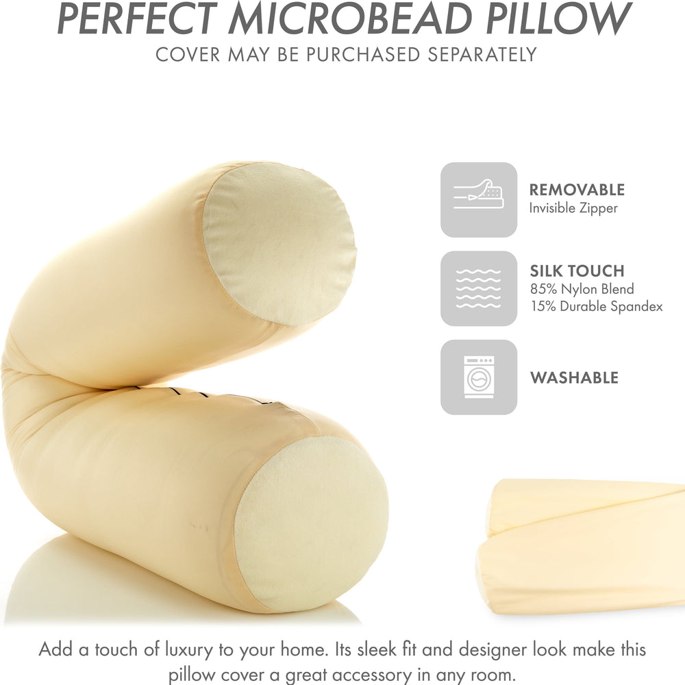 "Straight Body Pillow, Full Size Premium Microbead,Side Sleeping / Maternity Pregnant Women, Supportive ,Fluffy, Breathable, Cooling, 85/15 spandex/nylon Silky Anti-Aging - 48"" X 8"" - Off White Creme"