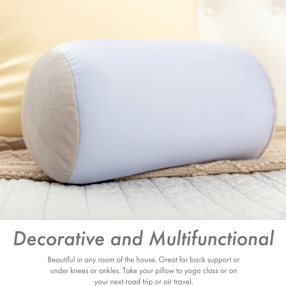 "Microbead Bolster Neck Roll Pillow, Gently On Body, Head, Neck & Shoulders No Pain Rest, Relax Sleep - Silky Feel Prevent Wrinkles & Hair Breakage - Lightweight Cylinder, 14"" x 8"""