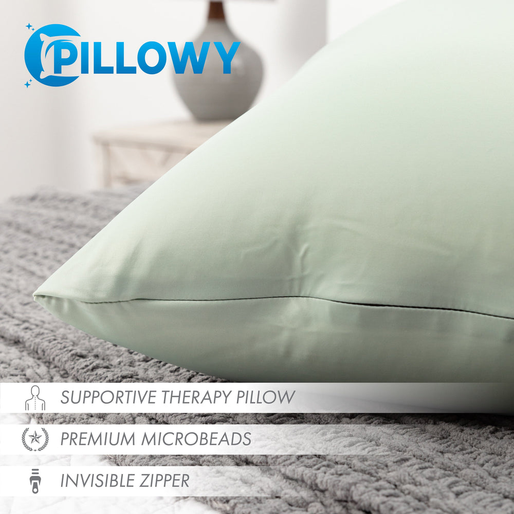 Throw Pillow – Cadet Grey: 1 PCS Luxurious Premium Microbead Pillow With 85/15 Nylon/Spandex Fabric. Forever Fluffy, Outstanding Beauty & Support. Silky, Soft & Beyond Comfortable