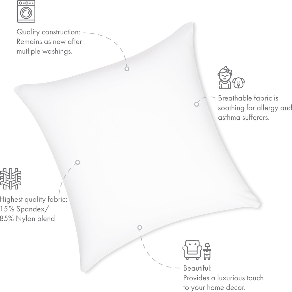 Throw Pillow – White: 1 PCS Luxurious Premium Microbead Pillow With 85/15 Nylon/Spandex Fabric. Forever Fluffy, Outstanding Beauty & Support. Silky, Soft & Beyond Comfortable