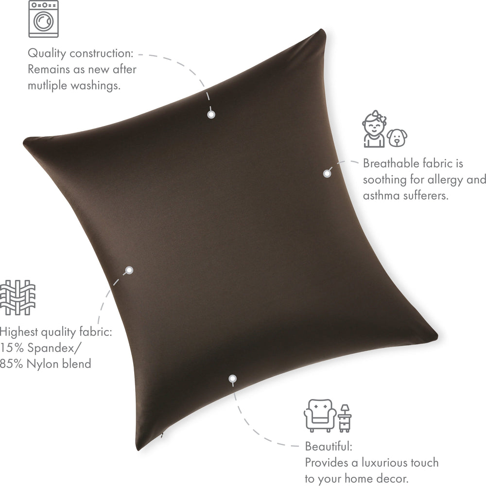 Throw Pillow – Black: 1 PCS Luxurious Premium Microbead Pillow With 85/15 Nylon/Spandex Fabric. Forever Fluffy, Outstanding Beauty & Support. Silky, Soft & Beyond Comfortable