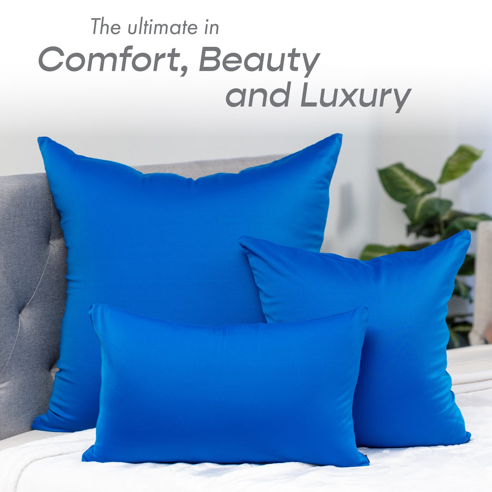 Throw Pillow – Yeal Blue: 1 PCS Luxurious Premium Microbead Pillow With 85/15 Nylon/Spandex Fabric. Forever Fluffy, Outstanding Beauty & Support. Silky, Soft & Beyond Comfortable