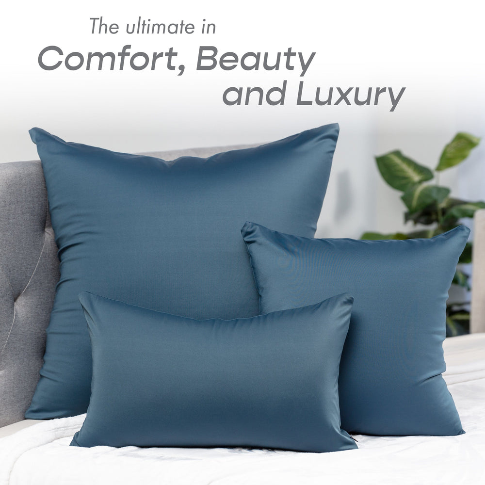 Throw Pillow – Dark Slate Grey: 1 PCS Luxurious Premium Microbead Pillow With 85/15 Nylon/Spandex Fabric. Forever Fluffy, Outstanding Beauty & Support. Silky, Soft & Beyond Comfortable