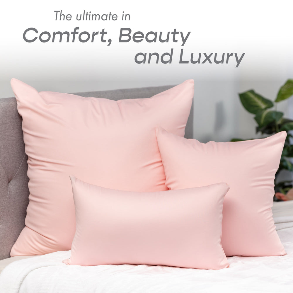 Throw Pillow – Cream Peach: 1 PCS Luxurious Premium Microbead Pillow With 85/15 Nylon/Spandex Fabric. Forever Fluffy, Outstanding Beauty & Support. Silky, Soft & Beyond Comfortable