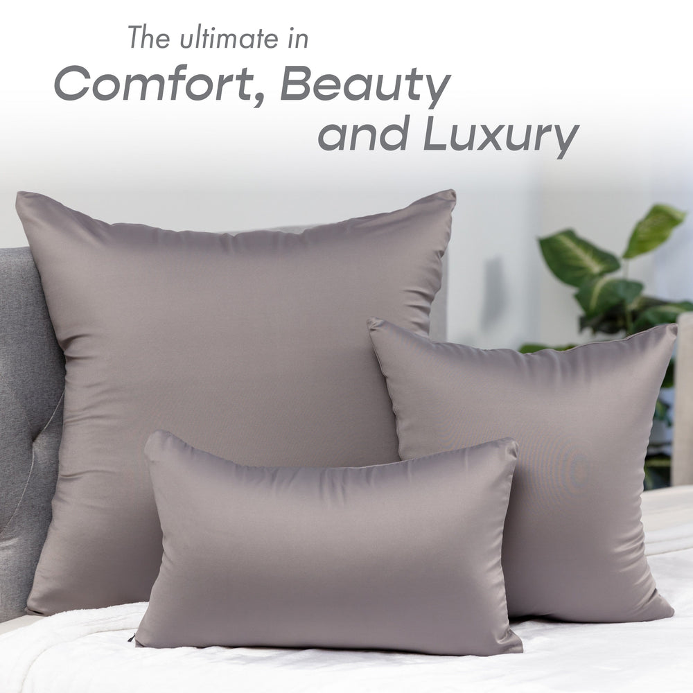 Throw Pillow – Stone Grey: 1 PCS Luxurious Premium Microbead Pillow With 85/15 Nylon/Spandex Fabric. Forever Fluffy, Outstanding Beauty & Support. Silky, Soft & Beyond Comfortable