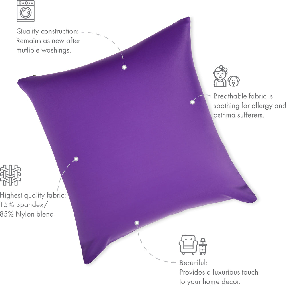 Throw Pillow – Dark Lavendar: 1 PCS Luxurious Premium Microbead Pillow With 85/15 Nylon/Spandex Fabric. Forever Fluffy, Outstanding Beauty & Support. Silky, Soft & Beyond Comfortable