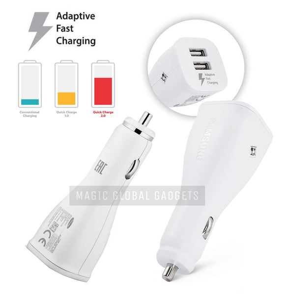 Genuine Samsung 2-Port White Adaptive Fast Car Charger For Galaxy S6, S6 Edge, S7, S7 Edge, S8, S8+, S9, S9+ S10, S10e, S10+