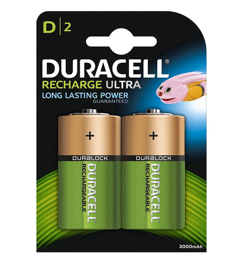 Duracell D 3000mAh 1.2v NiMH Rechargeable Batteries - Ready To Use (2-Pack)