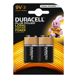 Duracell 9V Plus Power Alkaline Batteries (6LP3146, MN1604) - (2 Pack)