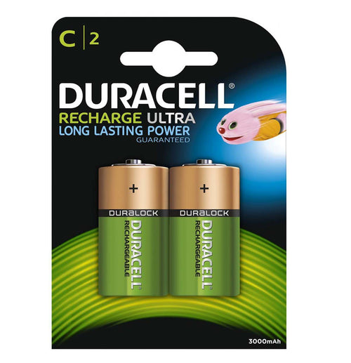 Duracell C 3000mAh 1.2v NiMH Rechargeable Batteries - Ready To Use (2-Pack)