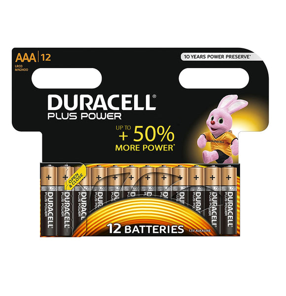Duracell AAA Plus Power 1.5v Alkaline Batteries (LR03,MN2400) - (12 Pack)