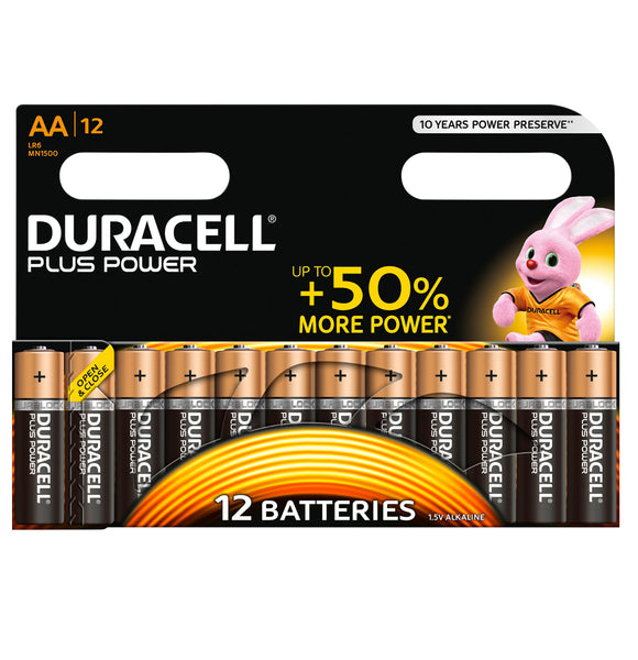 Duracell AA Plus Power 1.5v Alkaline Batteries (LR6, MN1500) - (12-Pack)