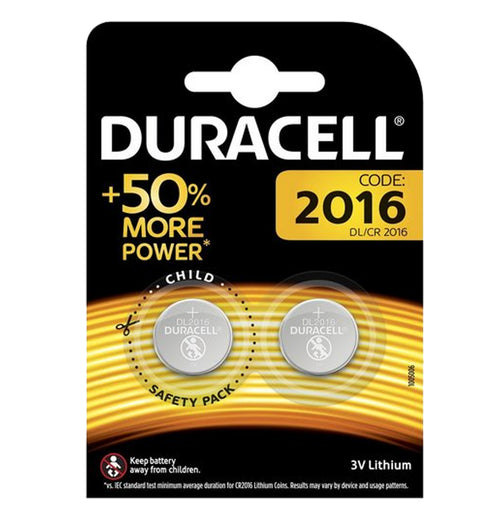 Duracell X2 CR2016 Coin Cell 3V Lithium Batteries (DL2016, KCR2016) (1 Pack)