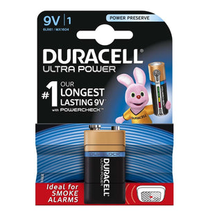 Duracell 9V Ultra Power Power Alkaline Batteries (6LR61, MX1604) (1 Pack)
