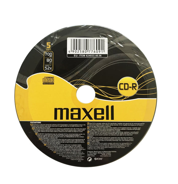 Official Maxell CD-R 5 Pack Blank Recordable Media Discs 700MB Extra Protection