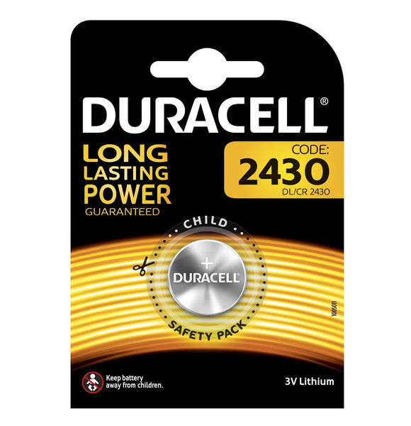 Duracell CR2430 Coin Cell 3V Lithium Batteries (DL2430) (1 Pack)