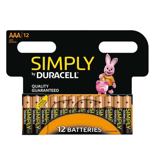 Simply By Duracell AAA 1.5v Alkaline Batteries (LR03,MN2400) (12 Pack)