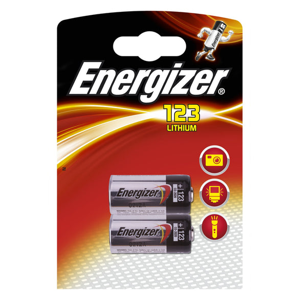 Energizer CR123 3V Lithium Batteries (CR123A, CR17345) (2 Pack)