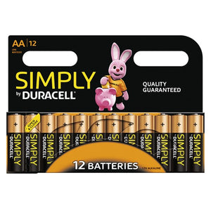 Simply By Duracell AA 1.5v Alkaline Batteries (LR6, MN1500) - (12-Pack)