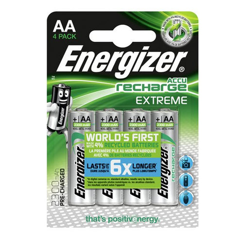 Energizer AA Extreme 2300mAh 1.2v NiMH Rechargeable Batteries - PRE-CHARGERD (Pack of 4)