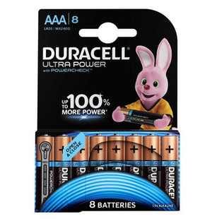 Duracell AAA Ultra Power 1.5v Alkaline Batteries (LR03,MX2400) - (8 Pack)