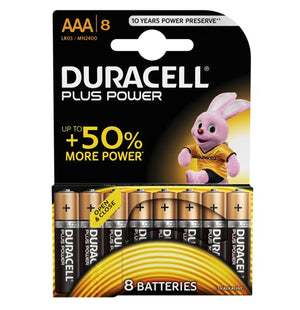 Duracell AAA Plus Power 1.5v Alkaline Batteries (LR03, MN2400)- (8 Pack)