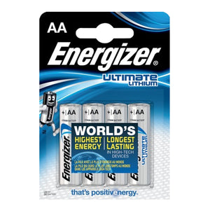 Energizer AA Ultimate Lithium 1.5v LR6 FR6 Batteries - (Pack of 4)