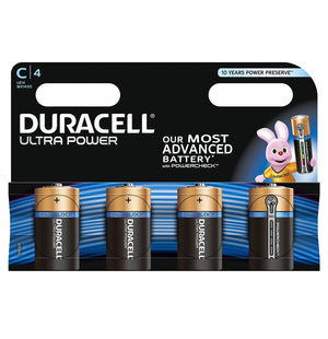 Duracell C Ultra Power 1.5v Alkaline Batteries LR14, MX1400 (4-Pack)
