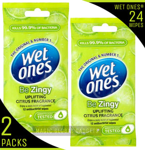 Wet Ones 'Be Zingy' Fragrance Free with Aloe Vera - 2 Packs - 24 Wipes