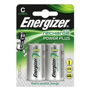 Energizer C Power Plus 2500mAh 1.2v NiMH Rechargeable Batteries - PRE-CHARGERD (Pack of 2)