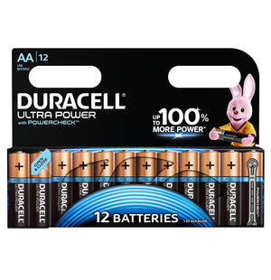 Duracell AA Ultra Power 1.5v Alkaline Batteries (LR6, MX1500) - (12 Pack)