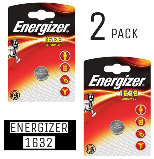 Energizer X2 CR1632 Coin Cell 3V Lithium Batteries (DL1632) (2 Packs)