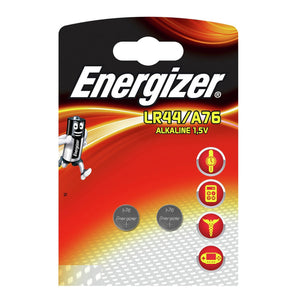 Energizer LR44 A76 1.5v Alkaline Button Cell Batteries (2 Pack)