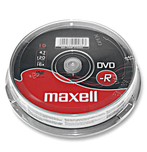 Official Maxell (10-Pack) DVD-R Blank Recordable Discs 16x 4.7GB 120 Mins PC