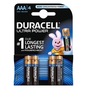 Duracell AAA Ultra Power 1.5v Alkaline Batteries (LR03,MX2400) - (4 Pack)