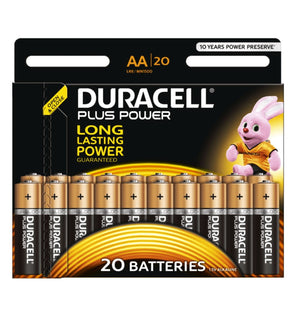 Duracell AA Plus Power 1.5v Alkaline Batteries (LR6, MN1500) - (20-Pack)