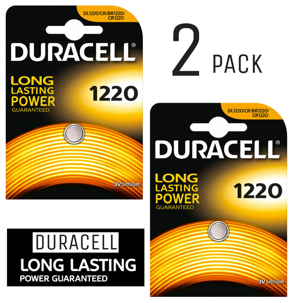 Duracell X2 CR1220 Coin Cell 3V Lithium Batteries (DL1220, BR1220) (2 Pack)