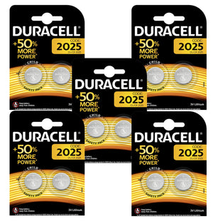 Duracell x10 CR2025 Coin Cell 3V Lithium Batteries (DL2025, ECR2025) (5 Packs)